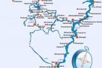 Карта водных путей теплохода Козьма Минин